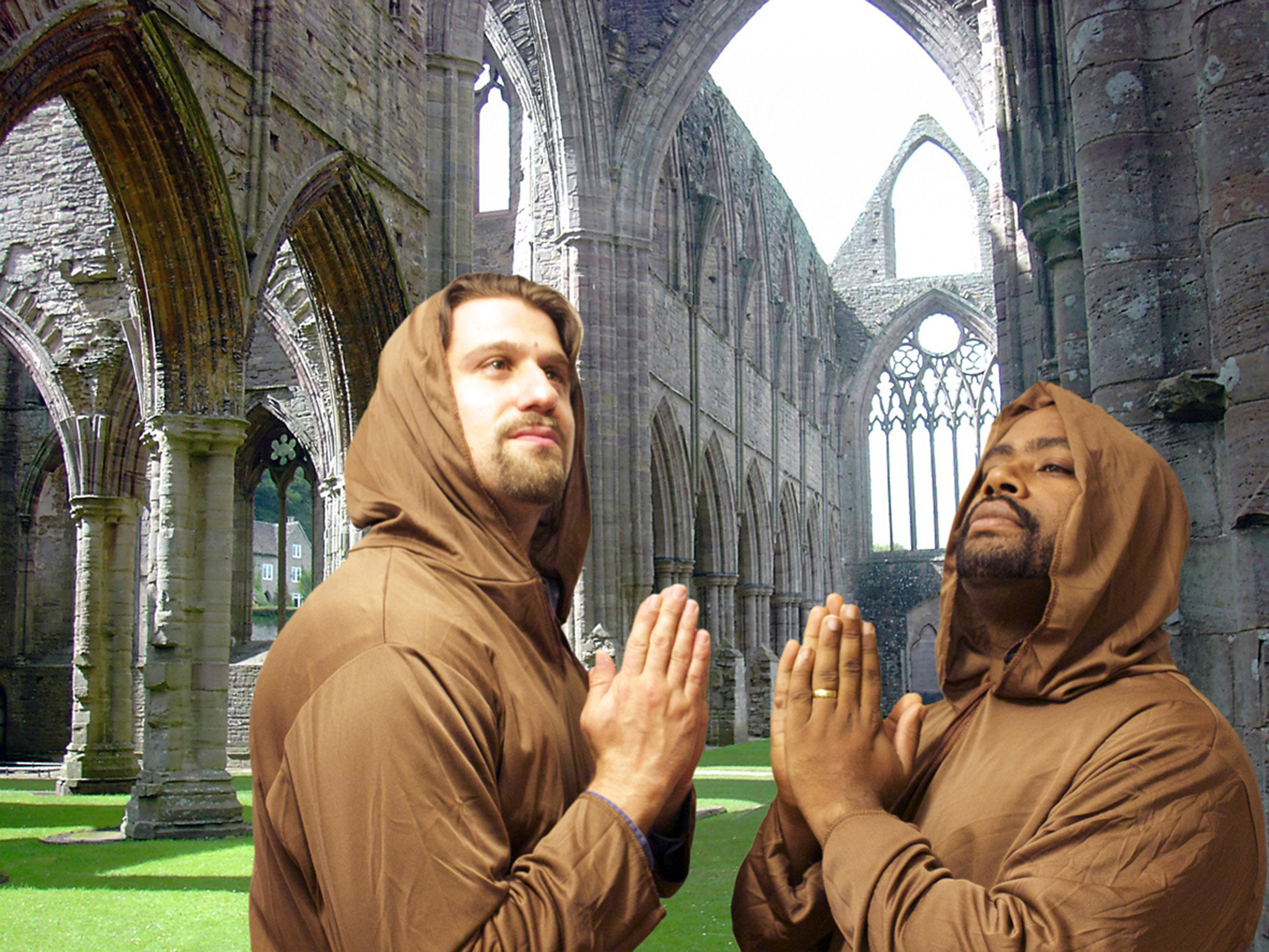 The monks having epiphanies in the courtyards