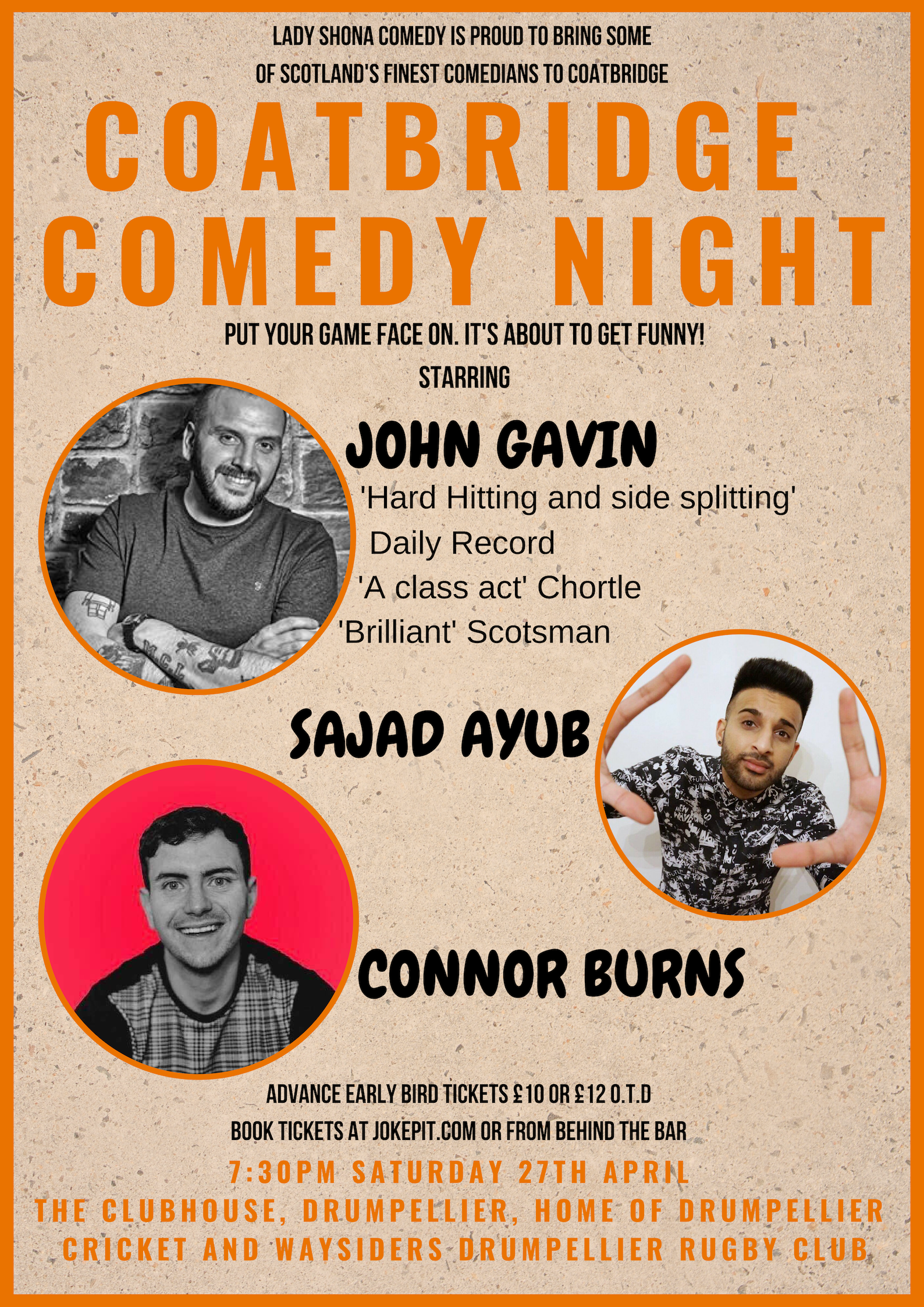 Coatbridge comedy night 27th april  1