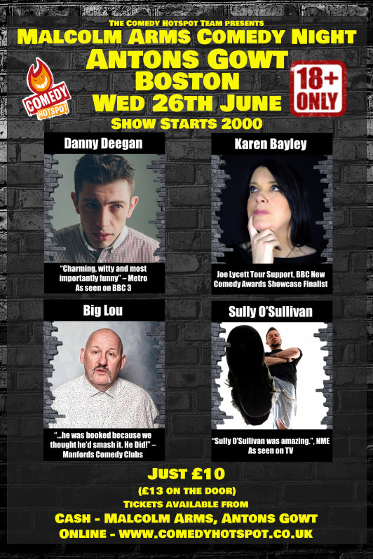 Malcolm arms comedy night wednesday  26th june