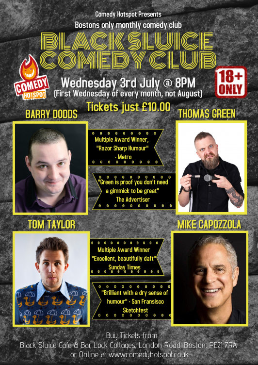 Black sluice comedy club wednesday 3rd july