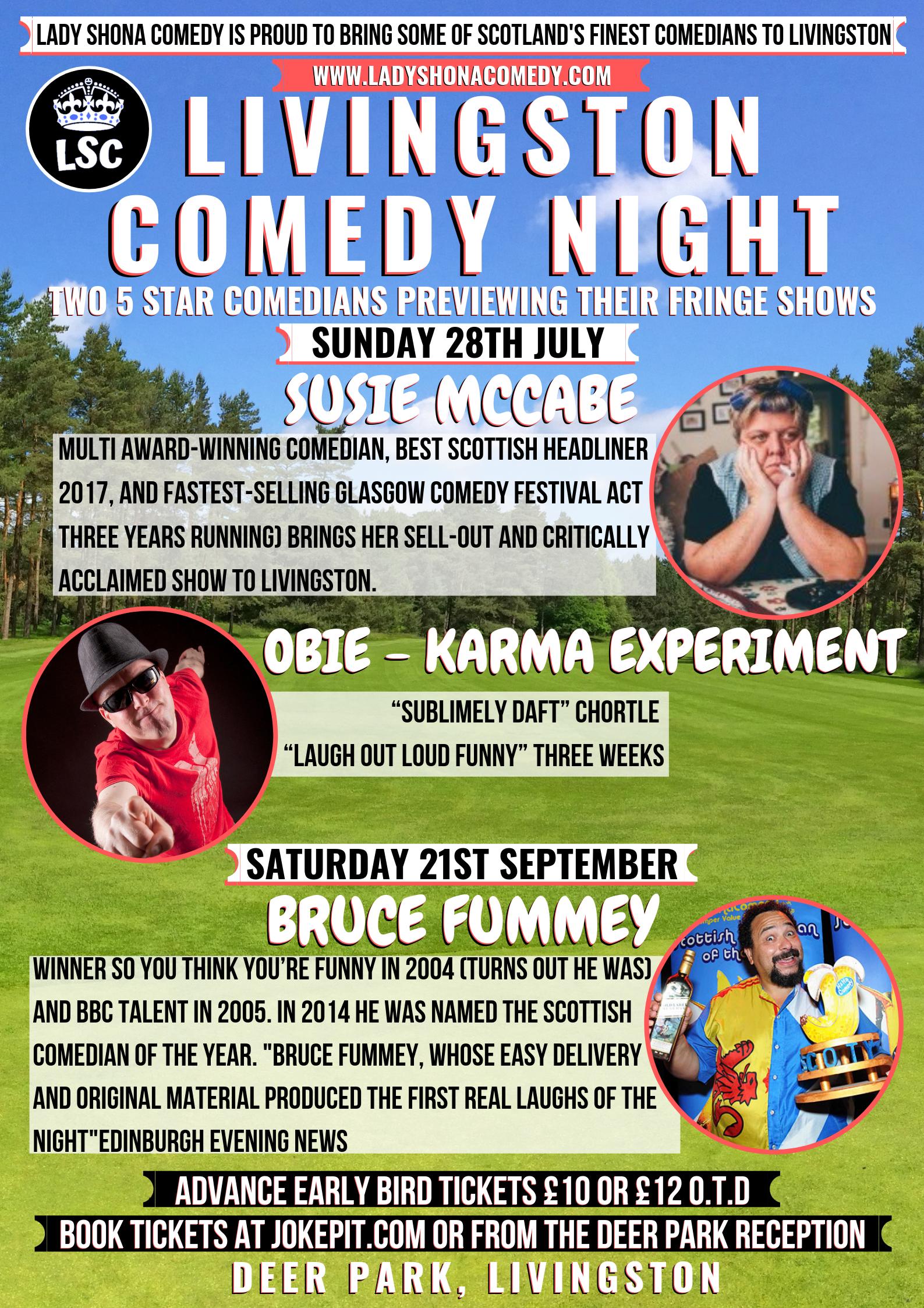 The livingston golf course lady shona comedy livingston comedy night 28th july 21st sept