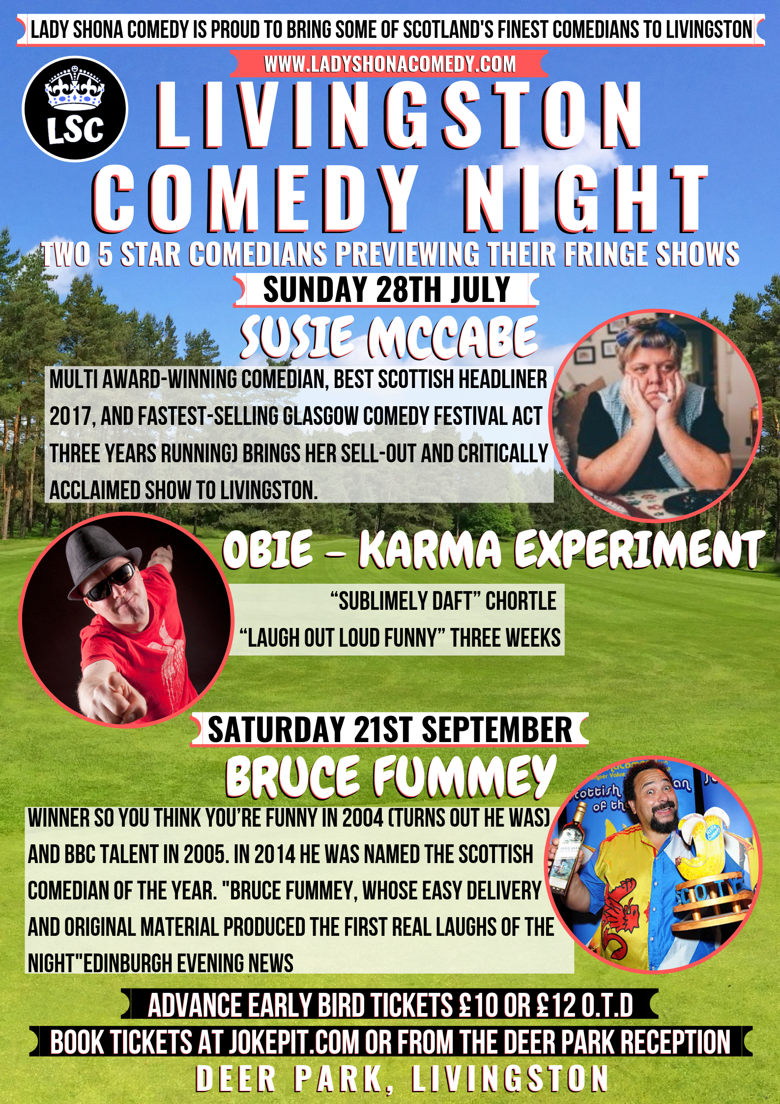 The livingston golf course lady shona comedy livingston comedy night 28th july 21st sept