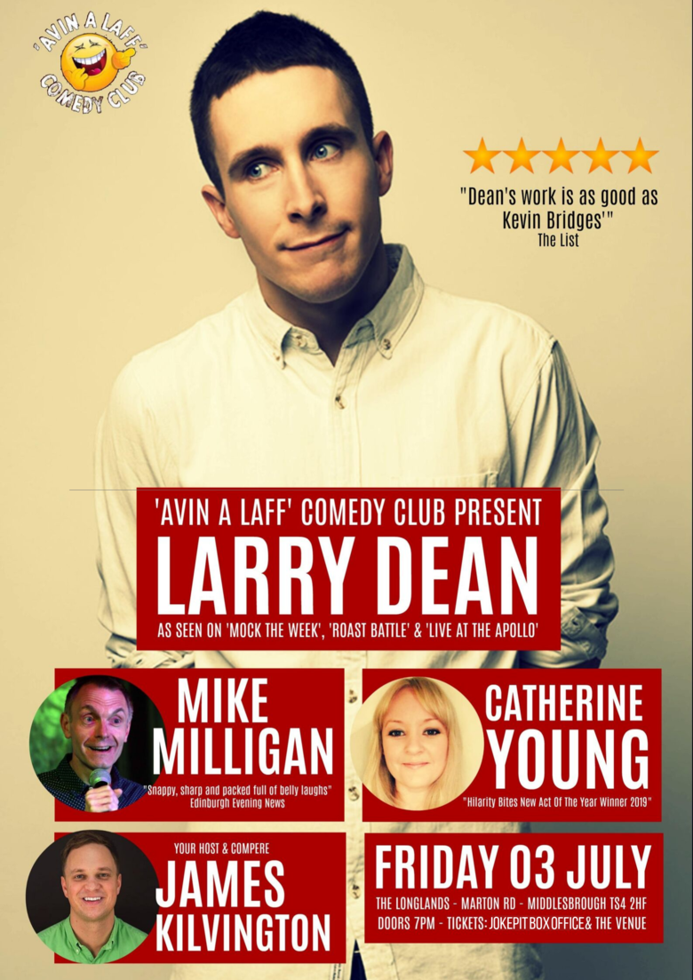 Cover larry dean comedian avin a laff comedy club jokepit comedy tickets