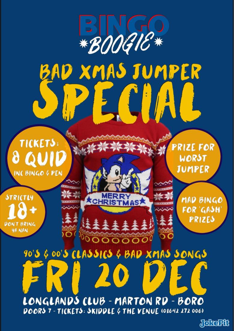 Cover 20th dec bingo boogie bad xmas jumper special jokepit comedy tickets