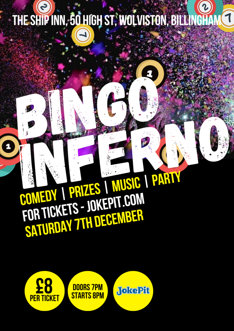 Cover bingo inferno saturday the 7th december