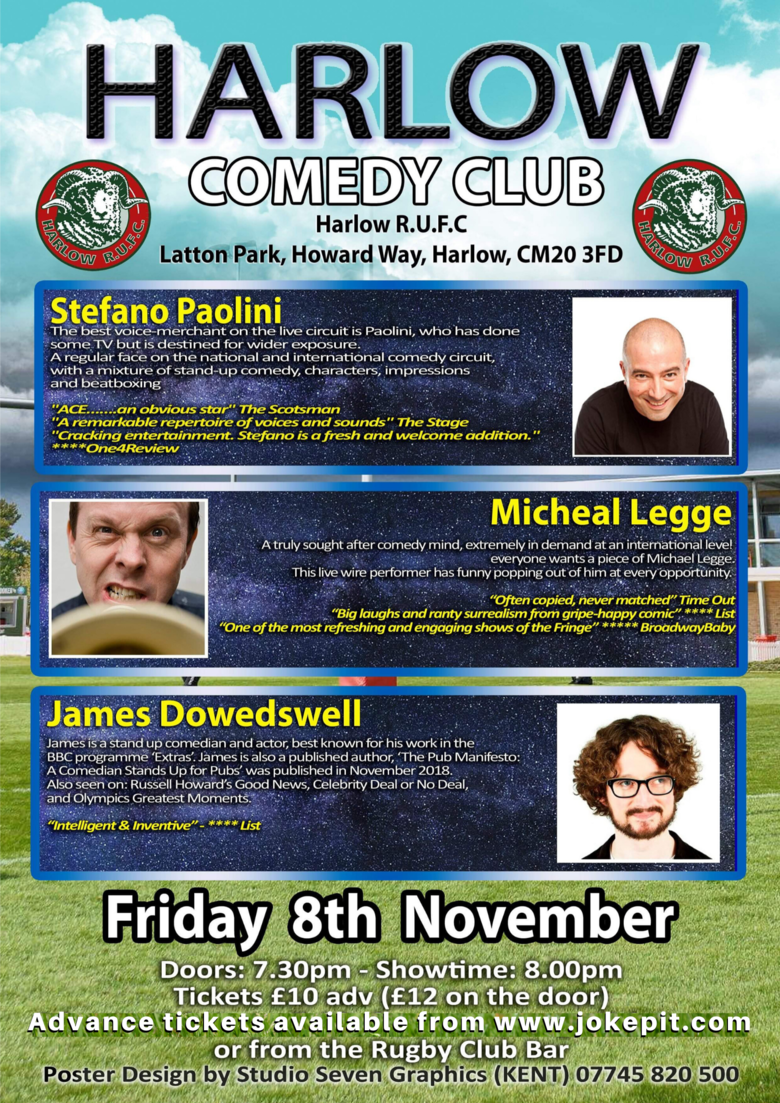 Cover harlow comedy club  stefano paolini  michael legge and james dowdeswell jokepit comedy tickets