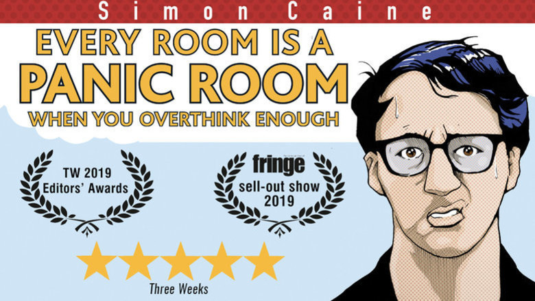 Cover cover simon caine  every room becomes a panic room when you overthink enough jokepit comedy tickets