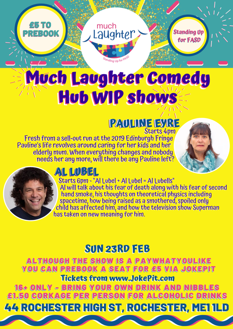 Cover update sun 23rd feb much laughter comedy hub wip shows