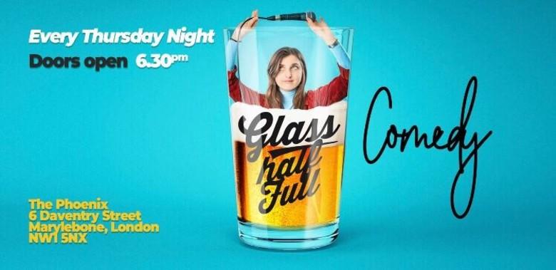 Cover glass half full comedy every thursday jokepit