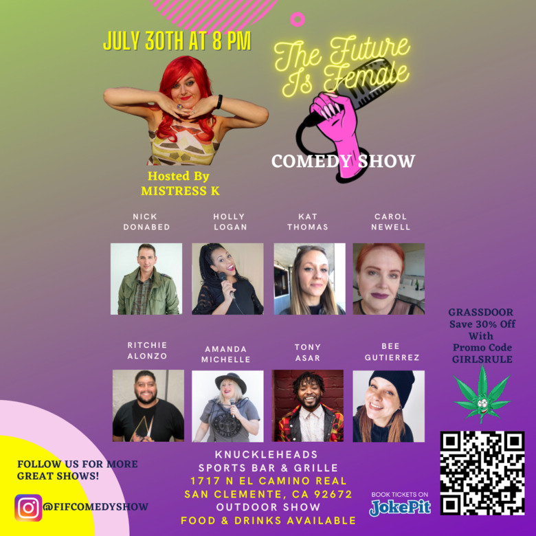 Cover the future is female comedy show july 30th