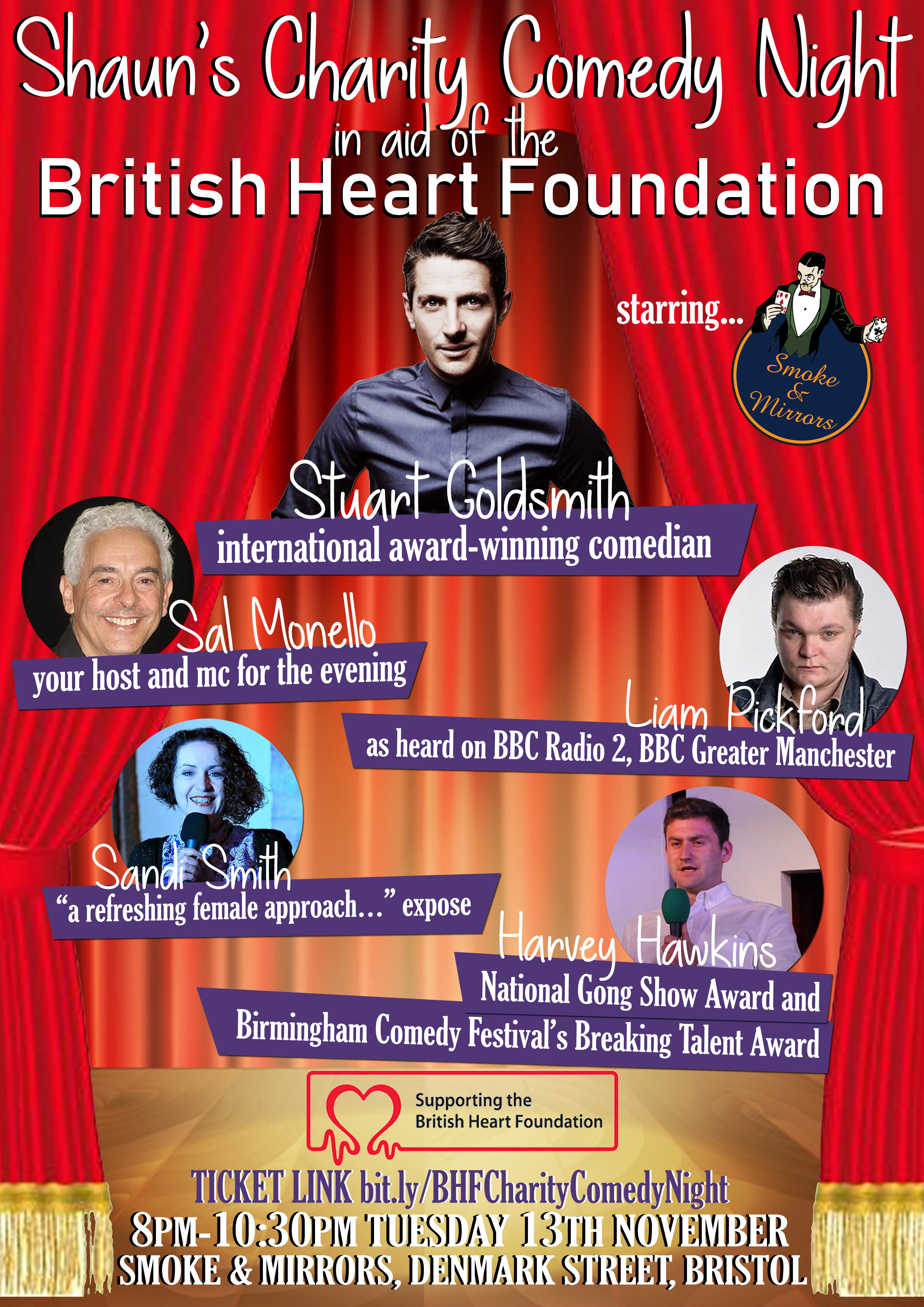 Charity comedy night in aid of the british heart foundation smoke and mirrors
