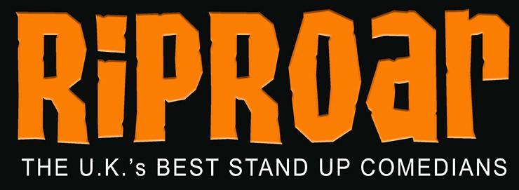 Riproar logo black background flat at 740px for jokepit